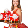 Beautiful woman with shopping bags — Stock Photo #16221435