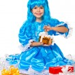 Pretty girl dressed like Malvina, doll with the blue hair. Gifts — Stock Photo #16252815