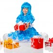 Pretty girl dressed like Malvina, doll with the blue hair. Gifts — Stock Photo #16252851