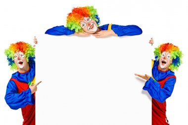 Set of three funny clown standing over a white background