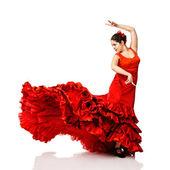 Jovem mulher dançando flamenco — Fotografia Stock