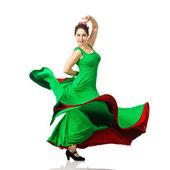 Beautiful young woman dancing flamenco — Stock Photo