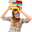 Stock Photo: Student girl struggling with stack of books