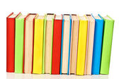 Big stack of books in hard cover, view from back — Stock Photo