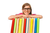 Happy smiling young student woman with books — Foto de Stock