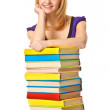 Student girl with pile color book . Isolated — Stock Photo