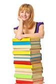 Uczeń dziewczyna z książki kolor stos. na białym tle — Zdjęcie stockowe
