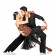 Sensual salsa dancing couple. Isolated — Stock Photo #22080103