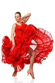 Sensual Latino dancergirl in action. Isolated — Stock Photo