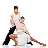 Sensual couple dancing salsa. Latino dancers in action. Isolated — Stock Photo