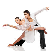 Latino dancers in action. Isolated — Stock Photo