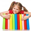 Royalty-Free Stock Photo: Little girl holding pile of books. Isolated.