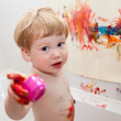 Child show you what he is drawing — Stock Photo