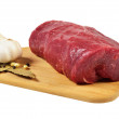 Raw Beef on wooden board — Stock Photo