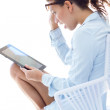 Stock Photo: Woman with tablet at home