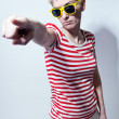 Crazy young woman with sunglasses — Stock Photo