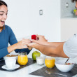 Young woman caught because her boyfriend gives an engagement rin — Stock Photo #32579161