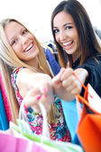 Two young friends shopping together — Stock Photo