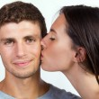 Young couple kissing — Stok fotoğraf