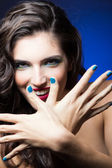 Sexy Beauty Girl with Red Lips and blue Nails — Stock Photo