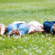 Happy young Family lying on grass — Stock Photo #47850913