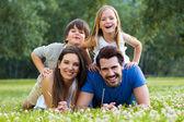 Heureux jeune famille couché sur l'herbe — Stok fotoğraf