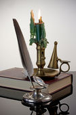 Quill Pen and Candlestick — Stock Photo