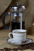 Cup of Coffee and Cafetiere — Stock Photo