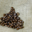 Stock Photo: Coffee Beans on Hessian