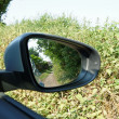 Country Lane in a Car Mirror — Stock Photo