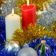 Stock Photo: Christmas Baubles and Candles