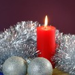 Stock Photo: Christmas Baubles and Candle with Tinsel