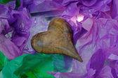 Antique Wooden Heart in Tissue Paper — Stok fotoğraf