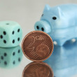 Piggy bank and 2 cents — Stock Photo