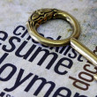 Stock Photo: Golden key on resume text