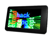 Hack on pc tablet — Stock Photo