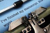 Manuscript on typewriter machine — Stock Photo