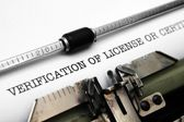 Verification of license — Stock Photo