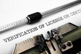 Verification of license — Stock Photo
