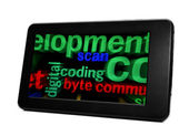 Coding and byte on pc tablet — Stock Photo