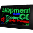 Coding and byte on pc tablet - Foto de Stock  