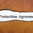 Protection agreement text on torn paper — Stock Photo