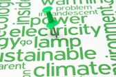 Push pin on Electricity and lamb text — Stock Photo