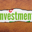 Investment text on torn paper — Stock Photo