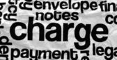 Charge text on crinkled paper — Stock Photo