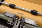 Appeal text on typewriter — 图库照片