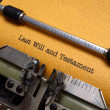 Last will and testament on typewriter — Stock Photo