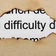 Difficulty text on paper hole — Stock Photo