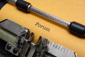 Forum text on typewriter — Foto Stock