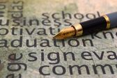 Fountain pen and sign text — Stock Photo